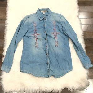 Chambray Navajo Pattern Button Down Shirt Blouse S